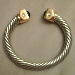 Joan Rivers Silver/Gold/Onyx/6 Cristals  Bracelet